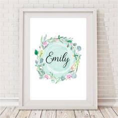 Wildflower personalised name print