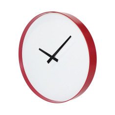 Puristic wall clock in red and white