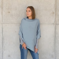 Merino wool poncho in pale blue