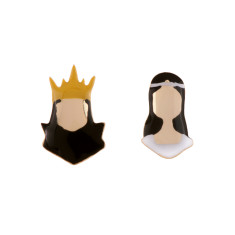 golden evil queen and snow white earrings