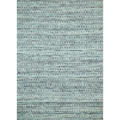Sea Blue/white Ice hand woven flat weave wool & art silk rug