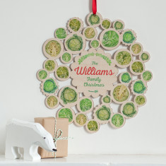 Wooden Brussels Sprouts Family Name Christmas Wreath