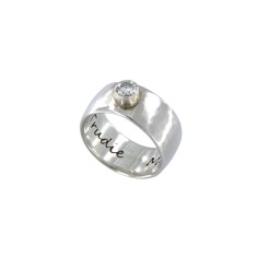 Personalised chunky sterling silver wide band ring with Moissanite gemstone