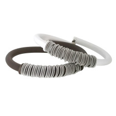 Spring ring bangle in brown or white