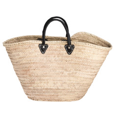 Large basket with black leather handles