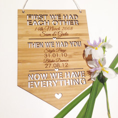 First we had each other personalised bamboo wall hanging