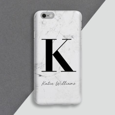 Large Initial White Marble Personalised Phone Case