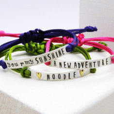 Personalised sterling silver friendship bracelet
