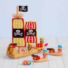 Personalised Wooden Pirate Ship Toy