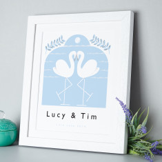 Personalised love birds flamingo print