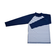 Classic long sleeve rashie for boys in Stripe Navy