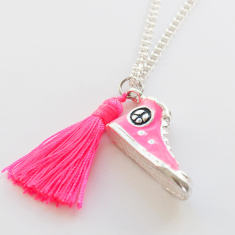 Chain necklace with shoe, diamonte ball and tassel