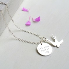 Personalised Sterling Silver Swallow and 'Let Your Spirit Fly' Disc Necklace