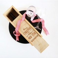 Xmas personalised wooden wine box - Merry Christmas