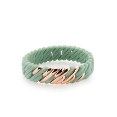 Mini woven pixel bracelet in dusty green and rose gold