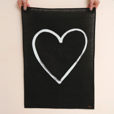 Heart Linen Tea Towel