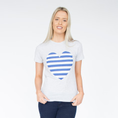 Striped Navy Heart Light Grey Marle Cotton Tee