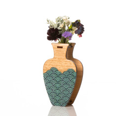 Large handmade vase in teal