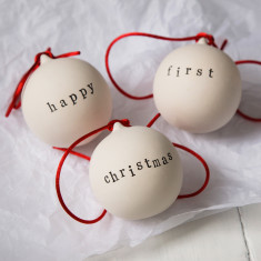 Happy First Christmas Ceramic Baubles