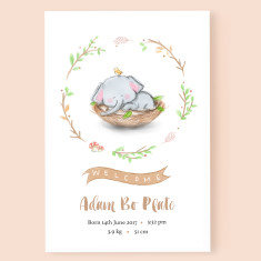 Personalised Baby Elephant Birth Announcement Art Print