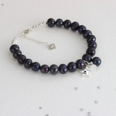 Personalised Black Pearl and Birthstone Bracelet