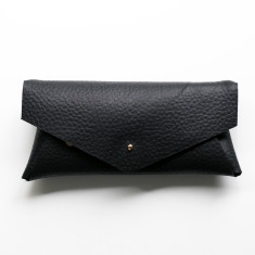 Postman Black Leather Glasses Case