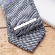 Men's personalised sterling silver tie clip