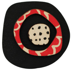 Retro brooch with red and black dots