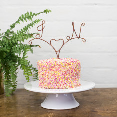 Personalised Initial Heart Wire Copper Cake Topper