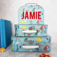 Personalised Dinosaur Suitcase Storage Box Trio