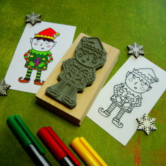 Elf colouring-in Christmas rubber stamp