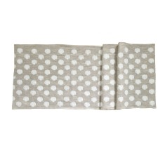 Natural linen Ikat spot table runner