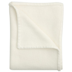 Wave knit cotton baby blanket in antique white