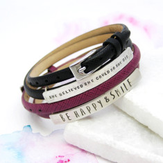 Personalised Silver And Leather ID Bracelet