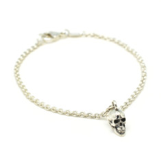 Calvariam Skull Bracelet in Silver and Oxidised