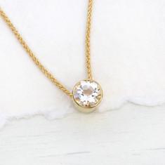 White Topaz Necklace in 18ct Gold, April Birthstone