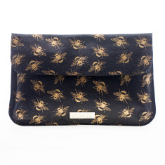 nooki design - metallic printed bee large leather clutch