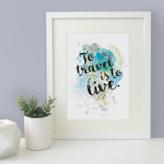 To travel is to live watercolour map blot print