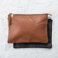 Personalised Leather Zip Clutch Bag