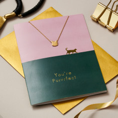 You're Purrfect Cat Card And Necklace Set