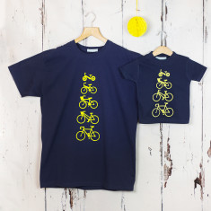 Personalised Dad and Child Bike T shirt Set