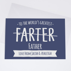 Personalised 'Greatest Farter' Father's Day Card