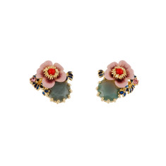 Pink Flower and Blue Stone Earrings