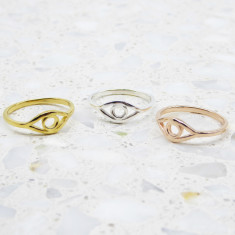 Evil Eye Ring In Silver, Gold or Rose Gold
