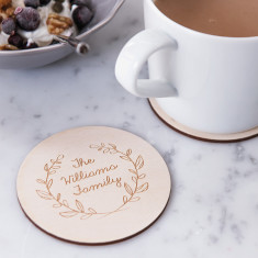 Engraved wreath drinks coaster