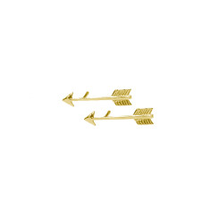 Arrow Stud Earrings in 18 KT Yellow Gold Plate