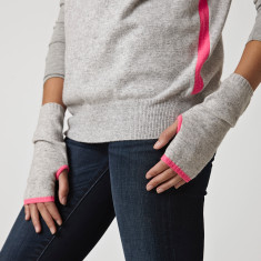 Cashmere grey wrist warmers with neon trim