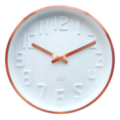 White wall clock with curved dial and copper finish case
