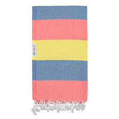 Hammamas Turkish Towel in Bold Blush / Denim / Daisy
