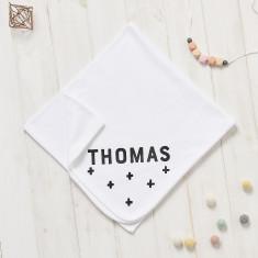 Personalised New Baby Scandi Crosses Blanket